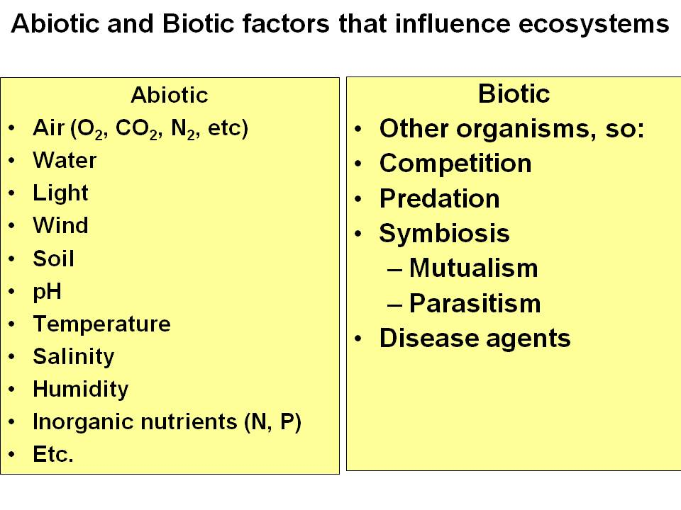 Abiotic Biotic Factors Ecology
